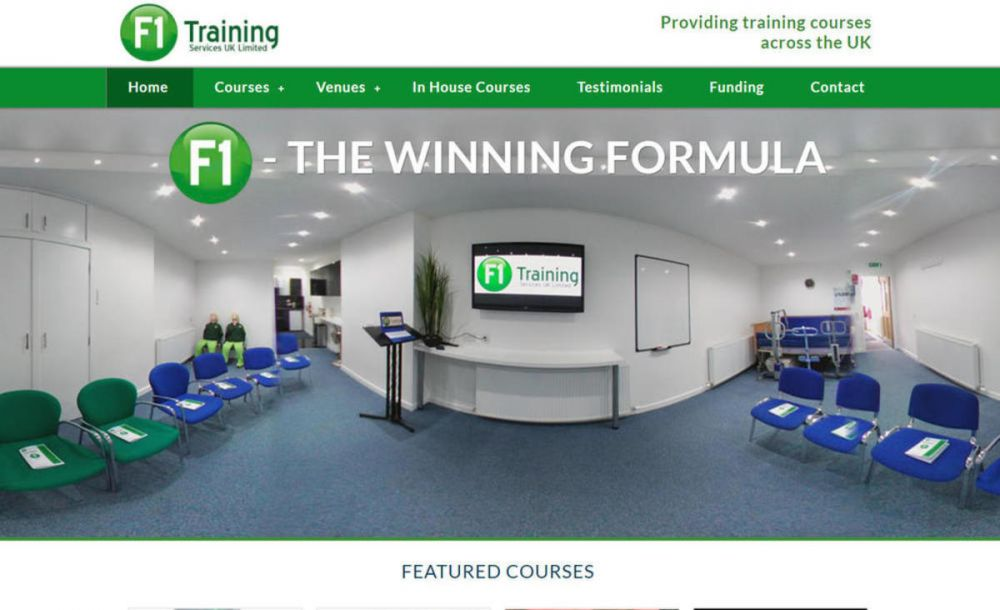 website designed for F1 Training Services Ltd