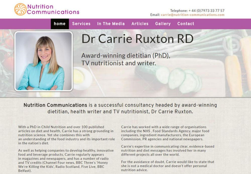 website designed for Nutrition Communications Carrie Ruxton