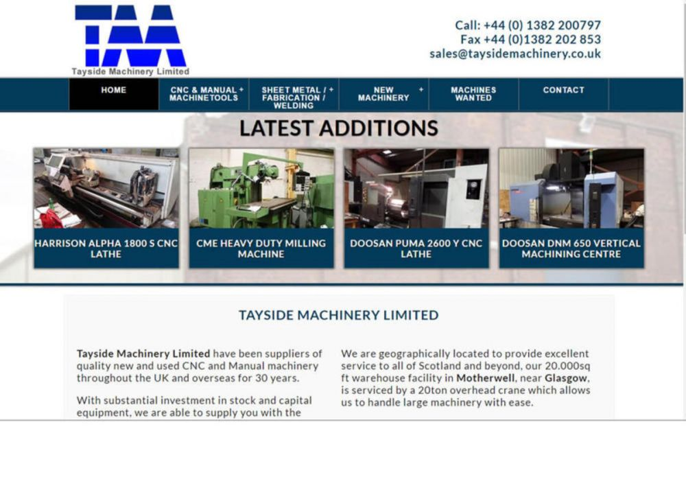 website designed for Tayside Machinery Ltd | Tayside machinery