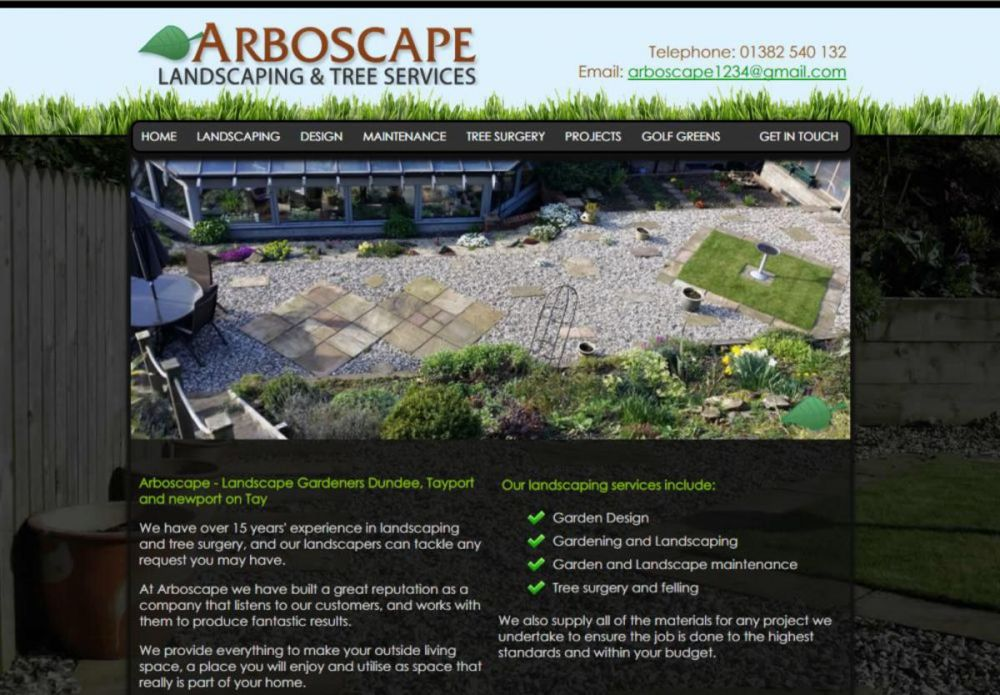 website designed for Arboscape