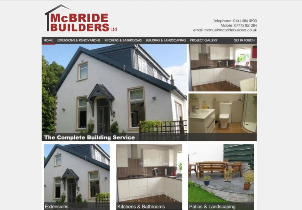 website designed for McBride Builders | Builders in giffnock