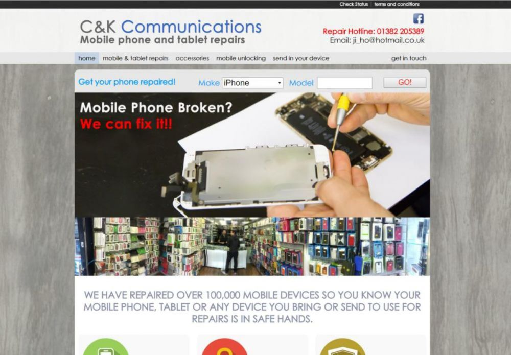 website designed for C and K Communications
