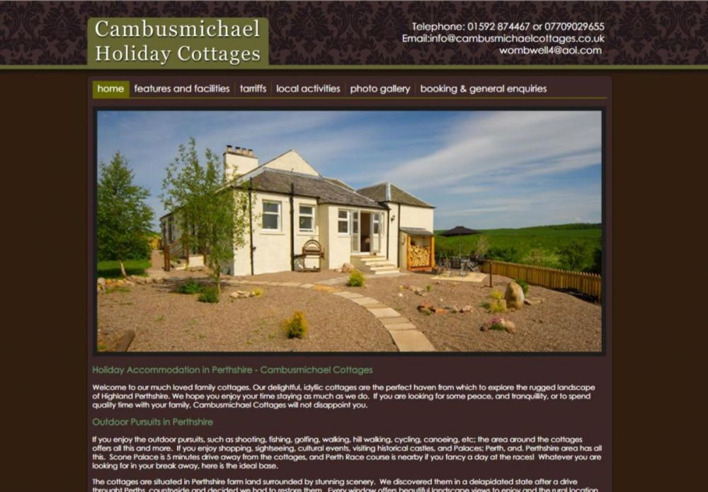 website designed for Cambusmichael Cottages | Holiday Accommodation in Perthshire - Cambusmichael Cottages