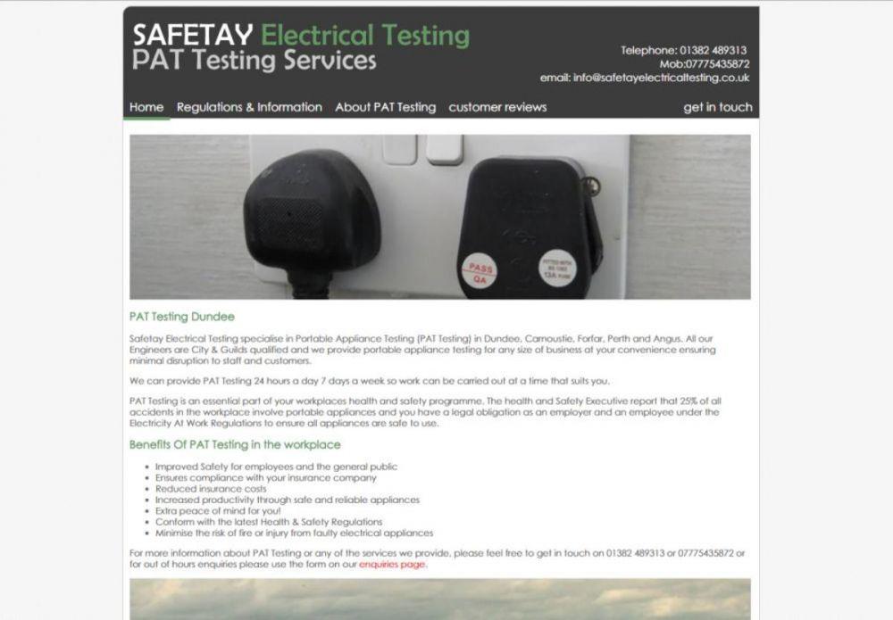 website designed for Safetay-Electrical-Testing