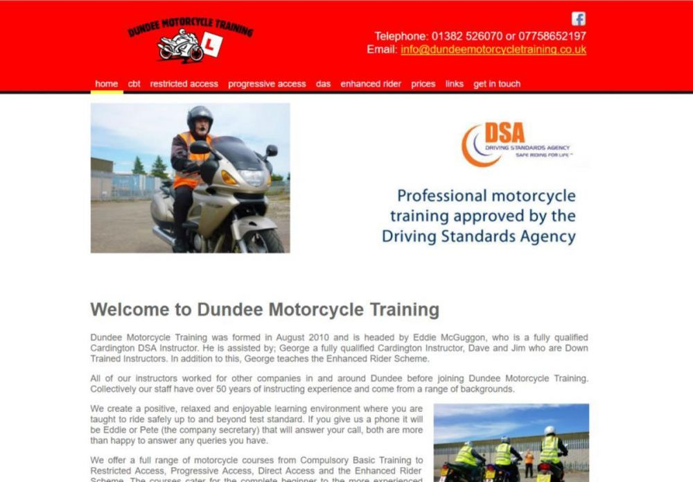 website designed for Dundee Motorcycle Training