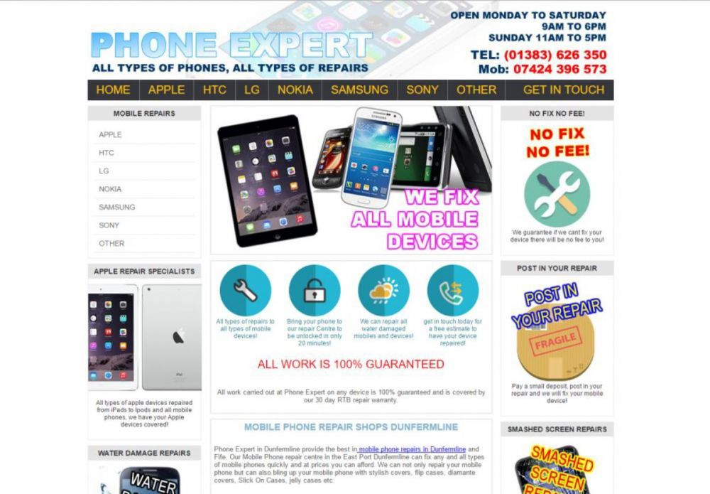 website designed for Phone Expert