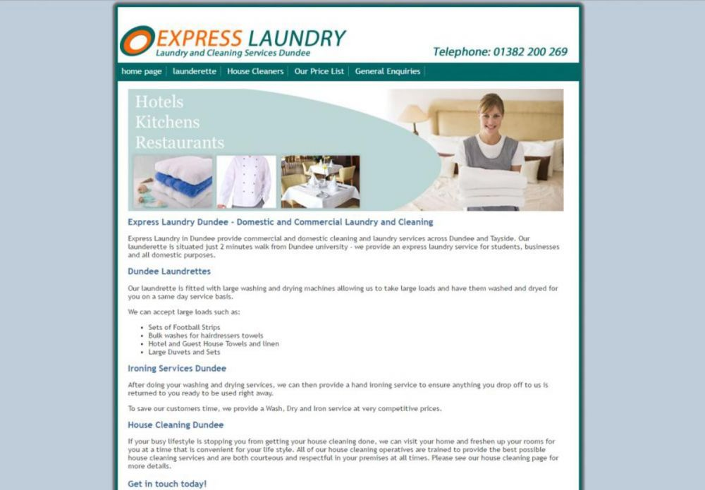 website designed for Express Laundry