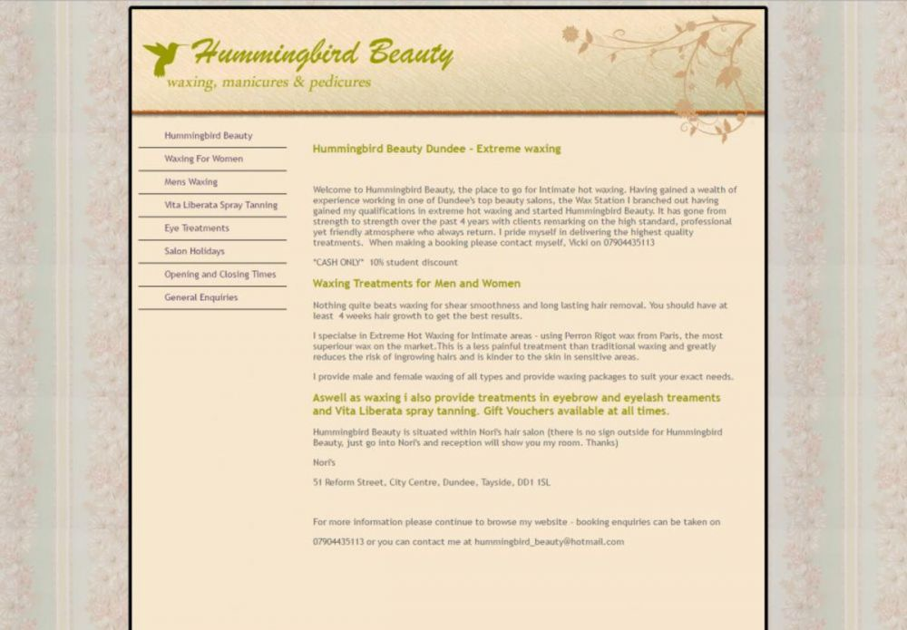 website designed for Hummingbird Beauty | Waxing and Beauty Salons in Dundee