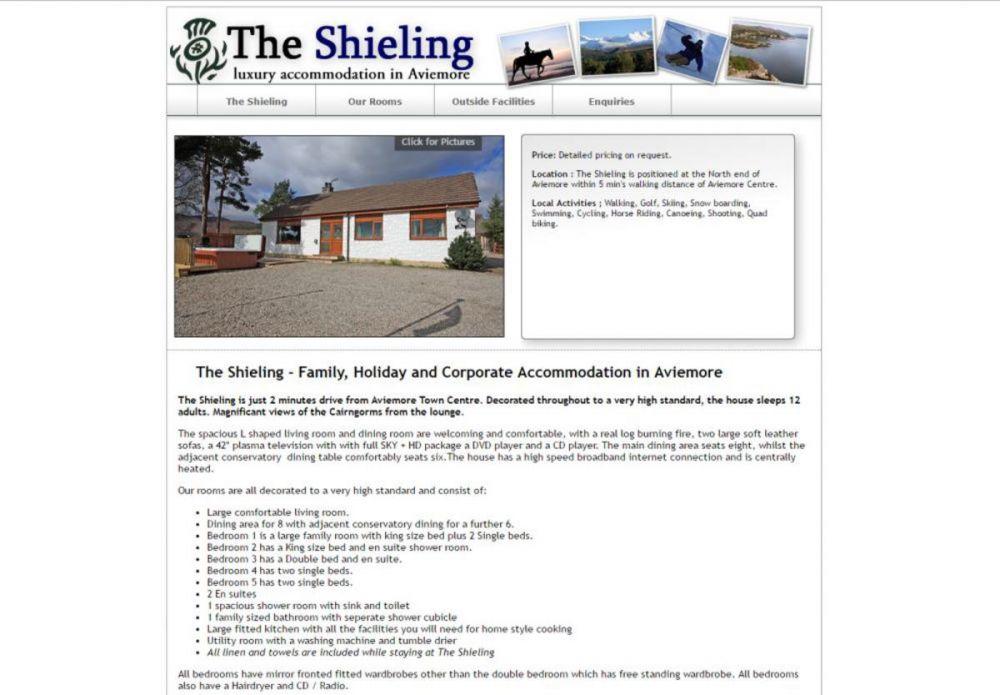 website designed for The Shieling