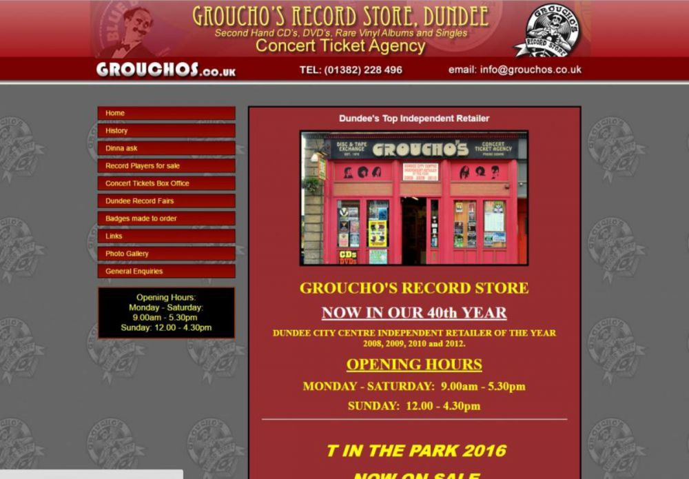 website designed for Grouchos Music Store | Grouchos Music Shop Dundee