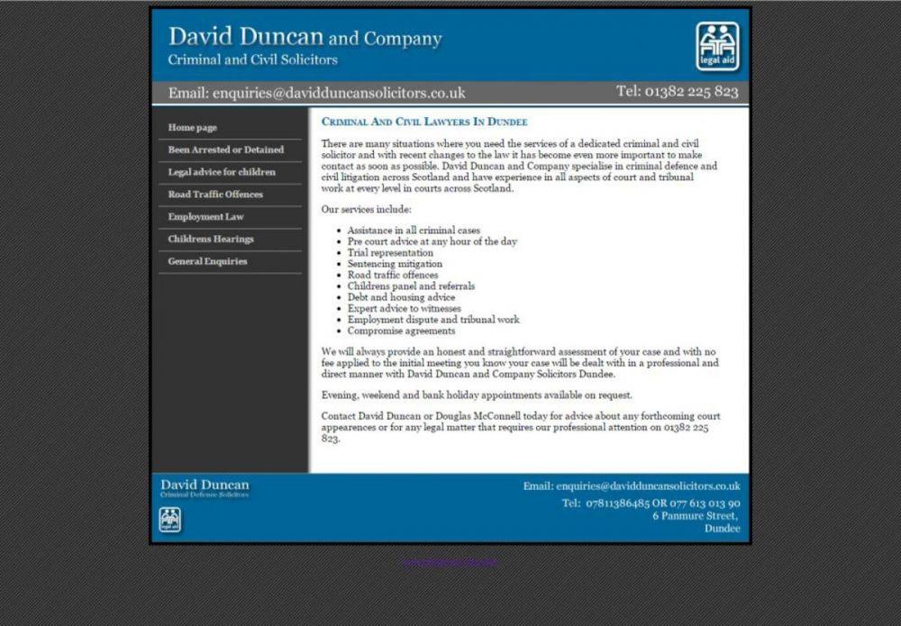 website designed for David Duncan Solicitors