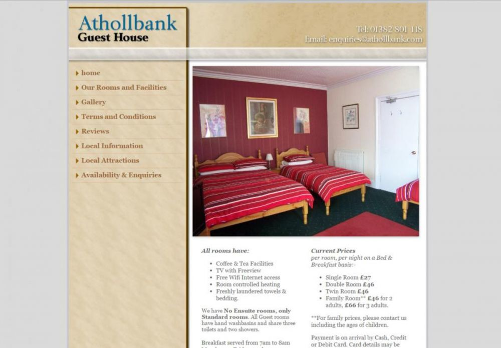 website designed for Atholbank | Atholbank Guest house Dundee