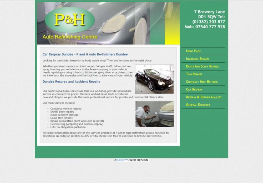 website designed for P and H Autos