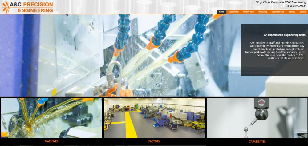 website designed for A and C Precision Engineering