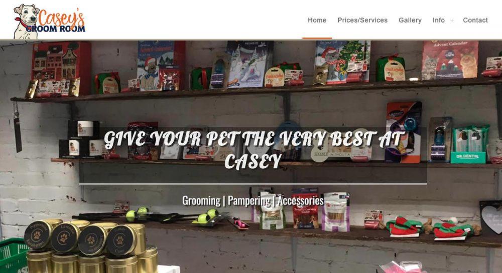 website designed for Caseys-Groom-Room