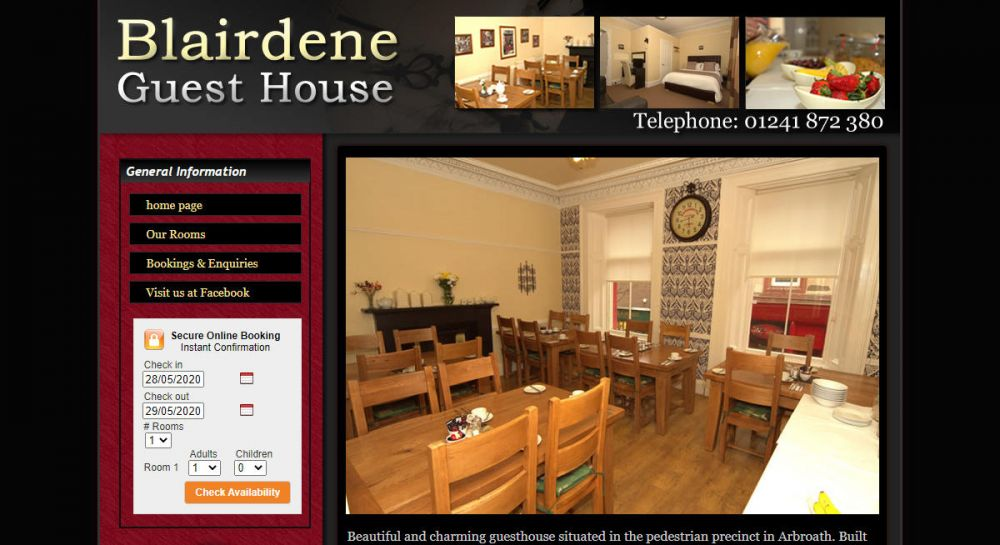 website designed for Blairdene Guest House