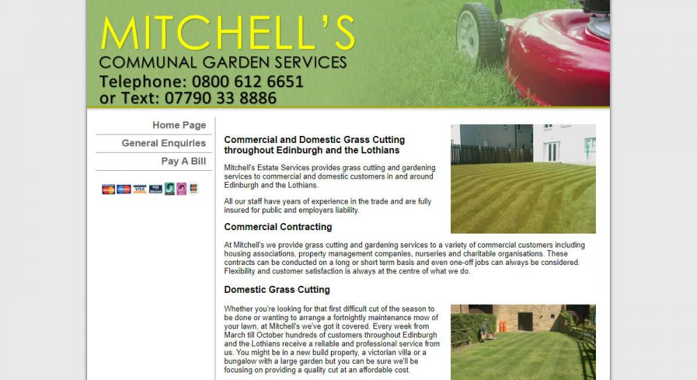 website designed for Mitchell Mow | Commercial and Domestic Grass Cutting throughout Edinburgh and the Lothians