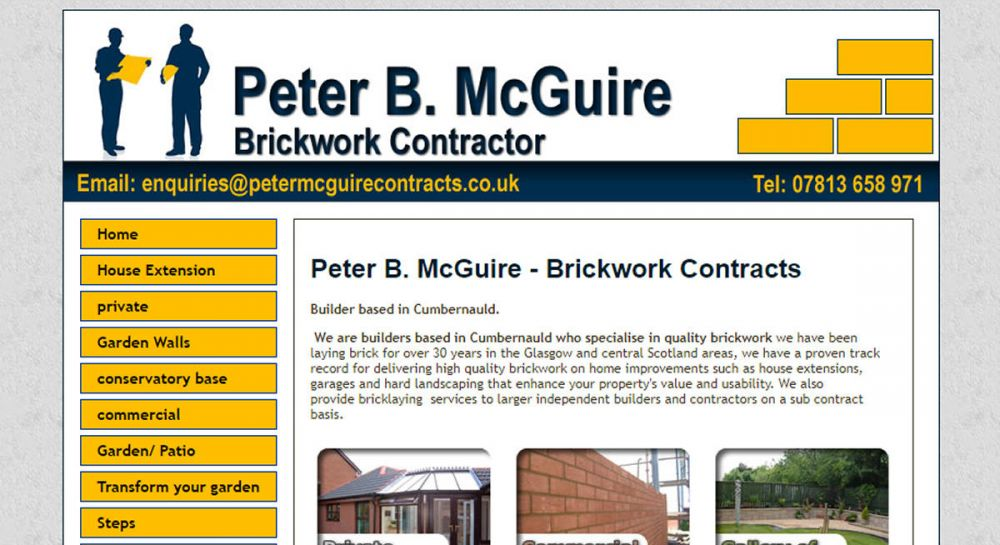 website designed for Peter B McGuire Brickwork Contracts | Peter B. McGuire - Brickwork Contracts