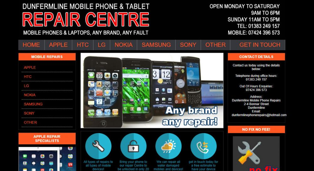 website designed for Phone Master Dunfermline