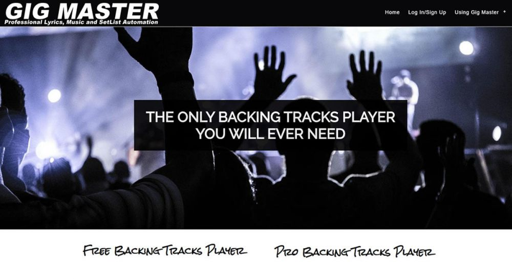 website designed for Baraoke | Free Backing Tracks Player