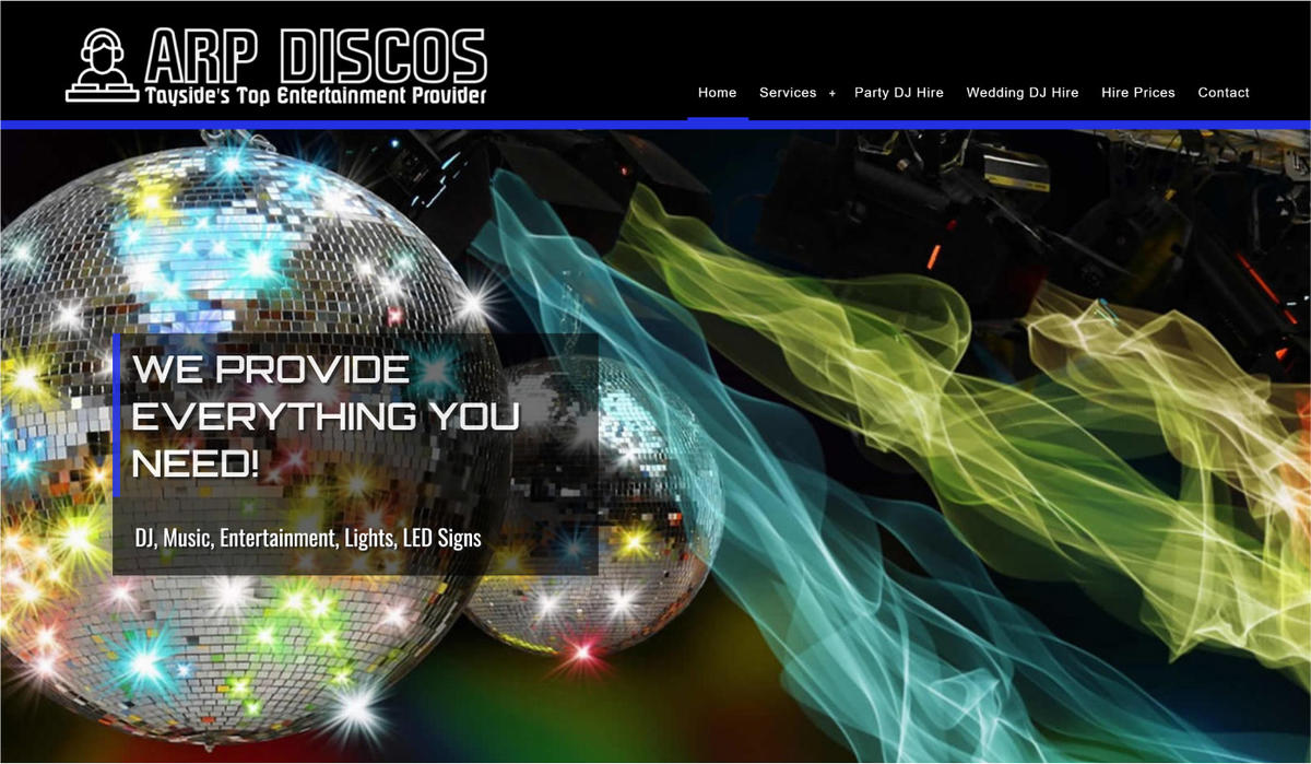 website designed for ARP Discos