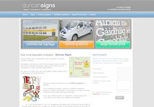 website designed for Duncan Signs