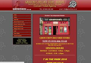 website designed for Grouchos Music Store